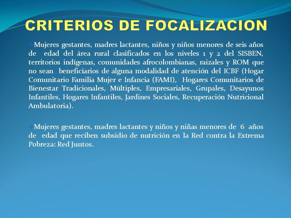 CRITERIOS DE FOCALIZACION