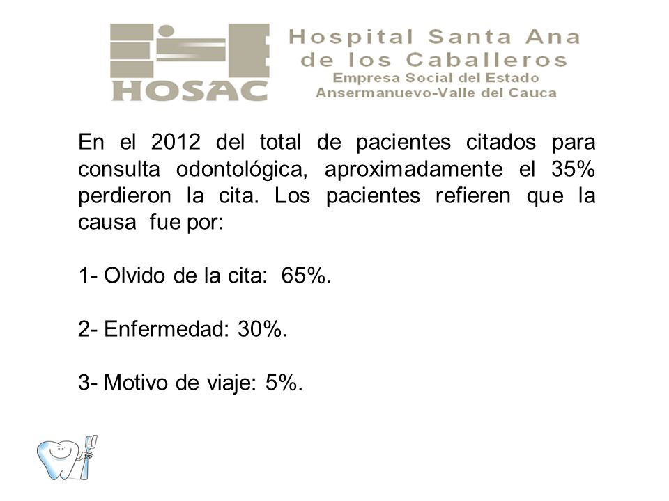 En el 2012 del total de pacientes citados para consulta odontológica, aproximadamente el 35% perdieron la cita. Los pacientes refieren que la causa fue por: