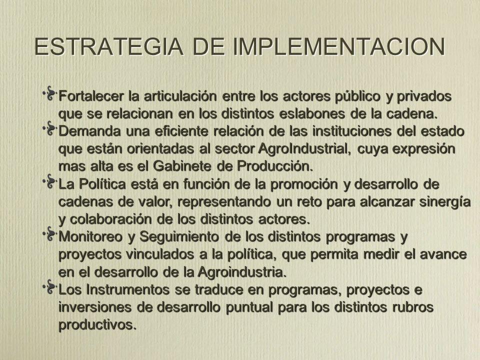 ESTRATEGIA DE IMPLEMENTACION