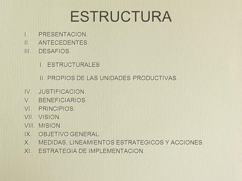 ESTRUCTURA PRESENTACION. ANTECEDENTES. DESAFIOS. ESTRUCTURALES
