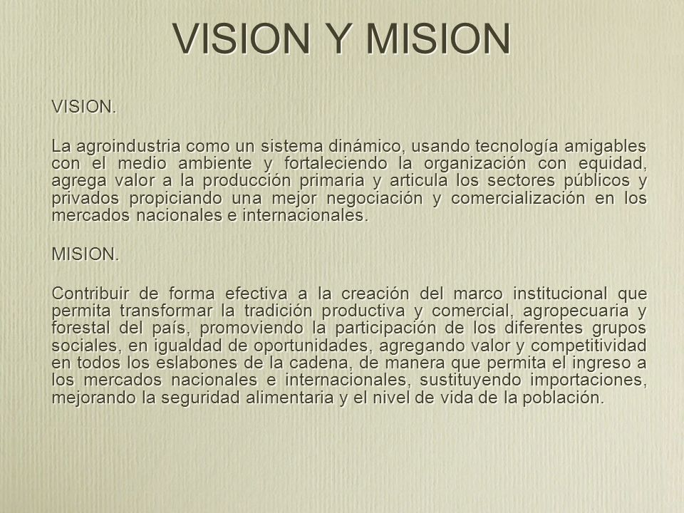 VISION Y MISION VISION.