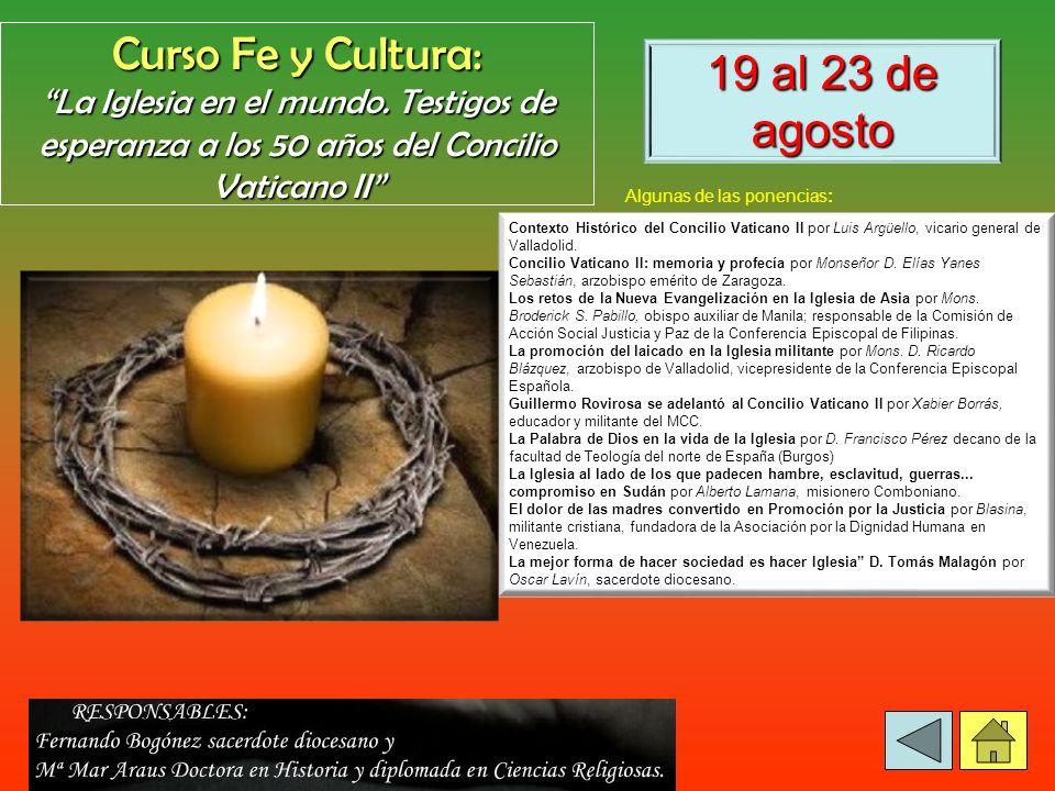 Curso Fe y Cultura: 19 al 23 de agosto