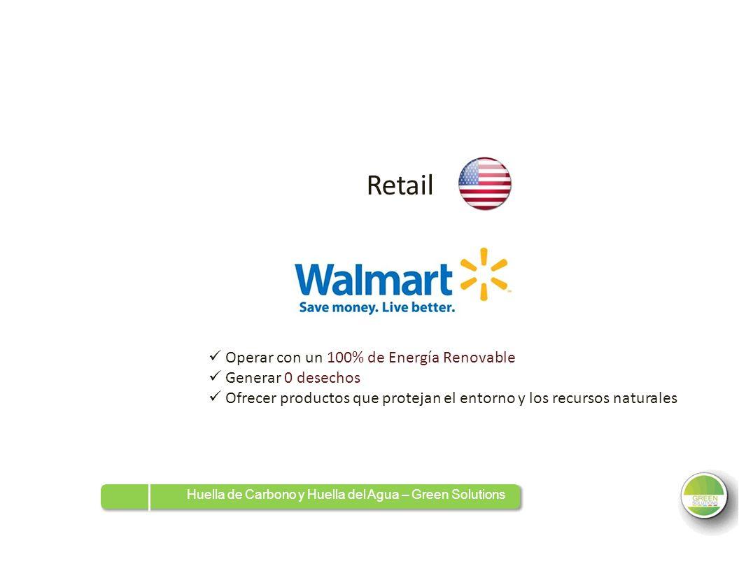 Retail  Operar con un 100% de Energía Renovable  Generar 0 desechos