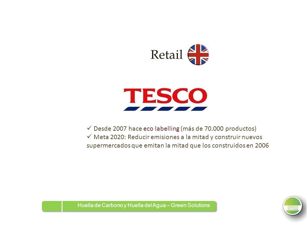 Retail  Desde 2007 hace eco labelling (más de 70.000 productos)