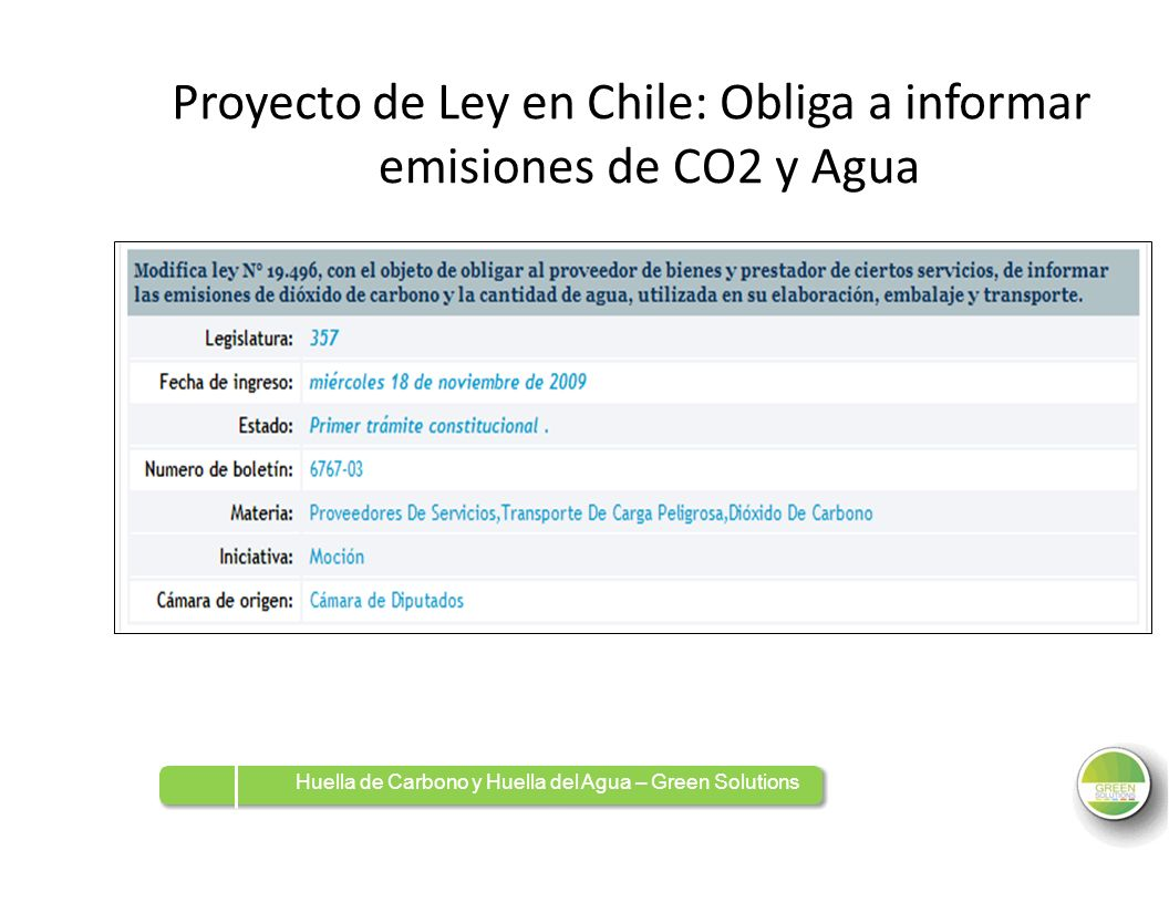 de Ley en Chile: Obliga a informar emisiones de CO2 y Agua