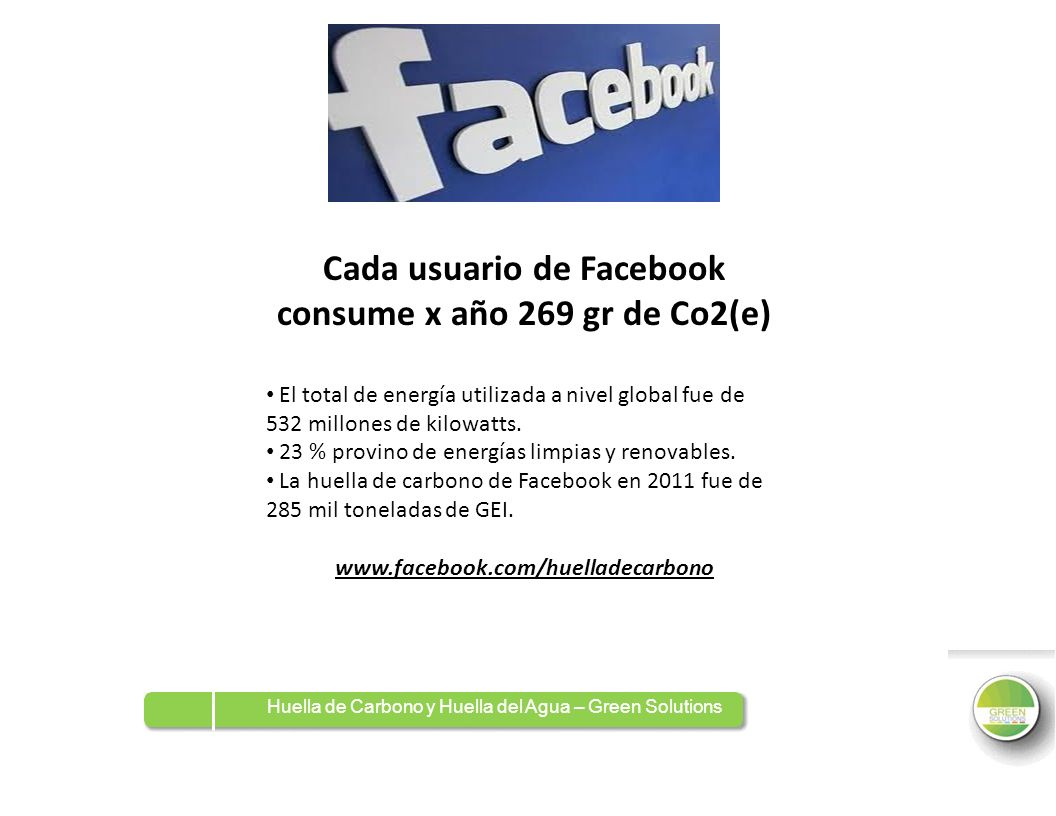 Cada usuario de Facebook consume x año 269 gr de Co2(e)