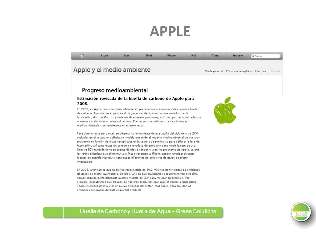 APPLE Huella de Carbono y Huella del Agua – Green Solutions