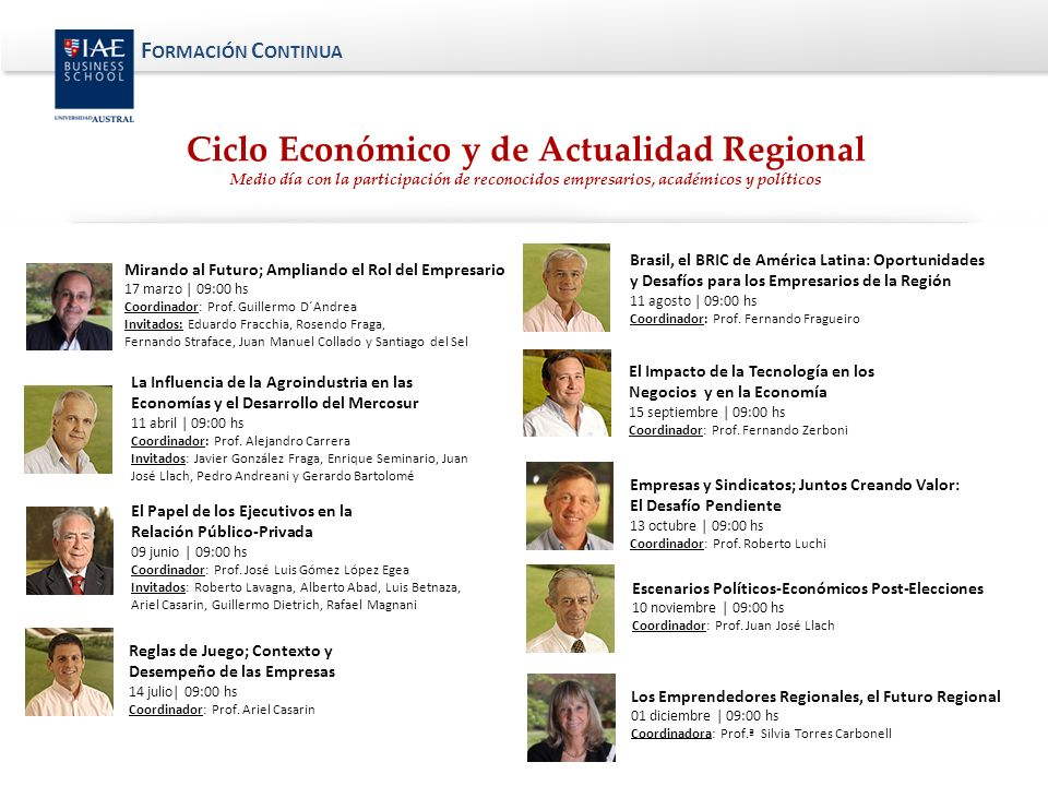 Ciclo Económico y de Actualidad Regional