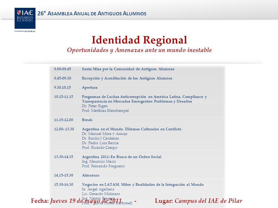 Identidad Regional 26° Asamblea Anual de Antiguos Alumnos