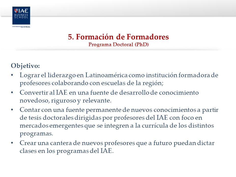 5. Formación de Formadores Programa Doctoral (PhD)