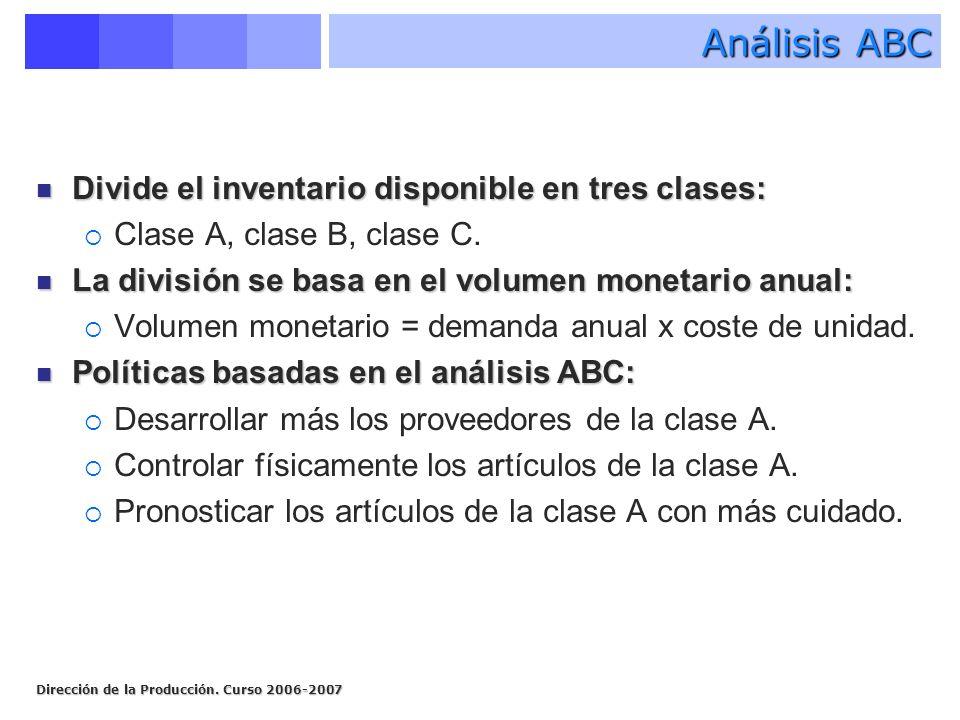 Análisis ABC Divide el inventario disponible en tres clases: