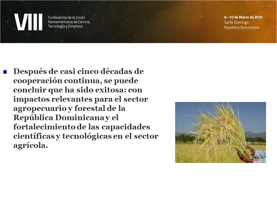 Después de casi cinco décadas de cooperación continua, se puede concluir que ha sido exitosa: con impactos relevantes para el sector agropecuario y forestal de la República Dominicana y el fortalecimiento de las capacidades científicas y tecnológicas en el sector agrícola.