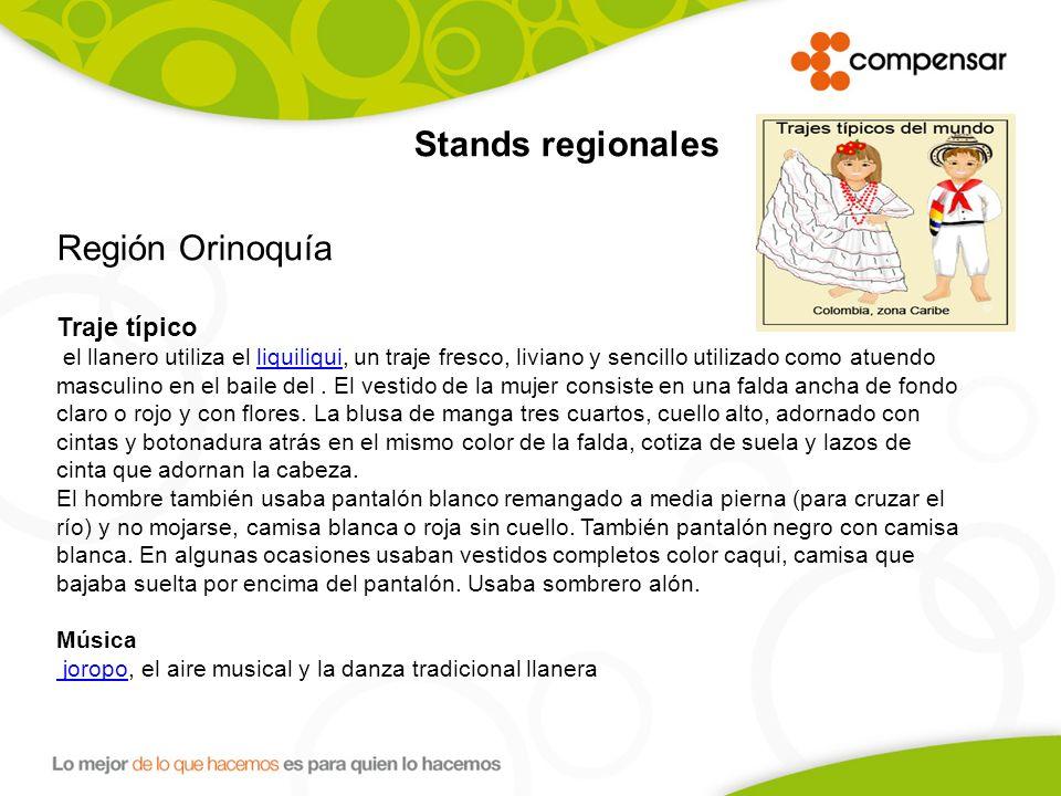 Región Orinoquía Traje típico Stands regionales