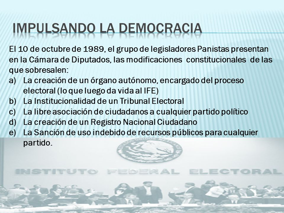 IMPULSANDO LA DEMOCRACIA