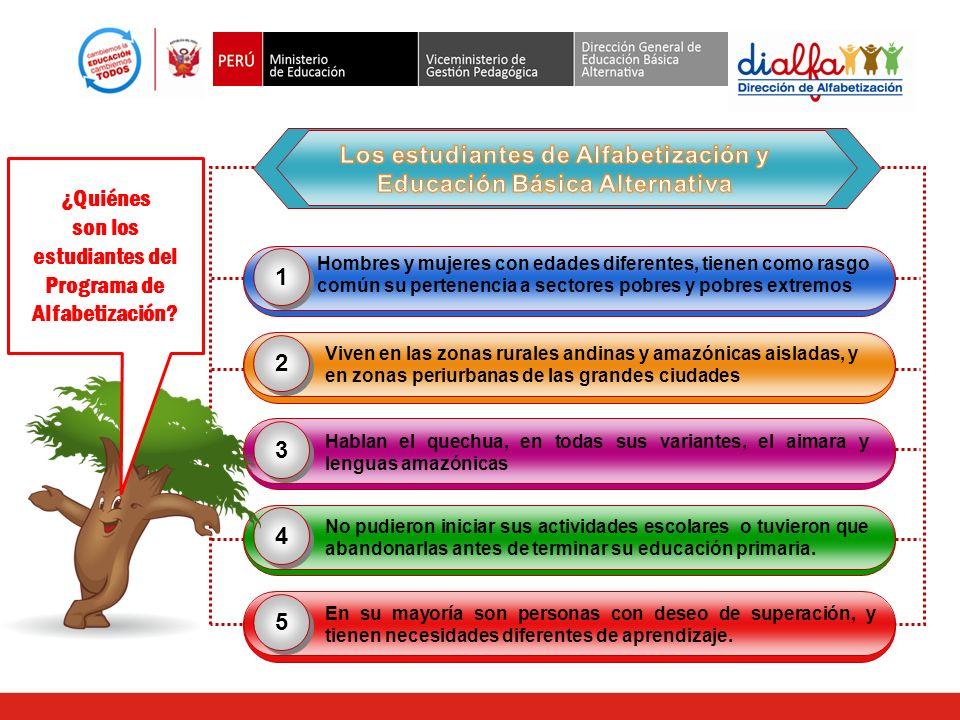 Los estudiantes de Alfabetización y Educación Básica Alternativa
