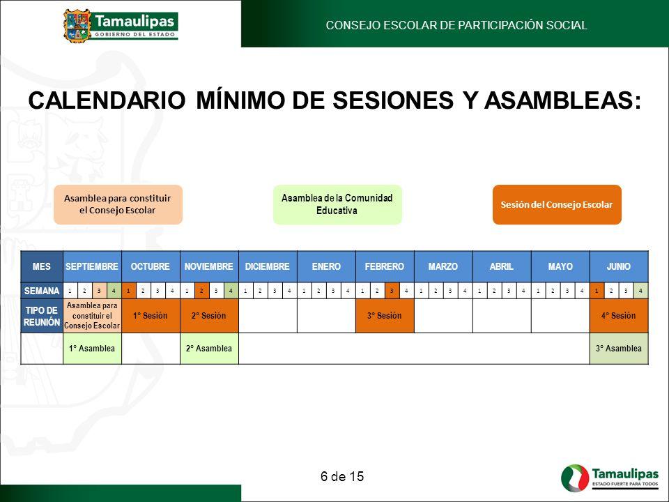 CALENDARIO MÍNIMO DE SESIONES Y ASAMBLEAS: