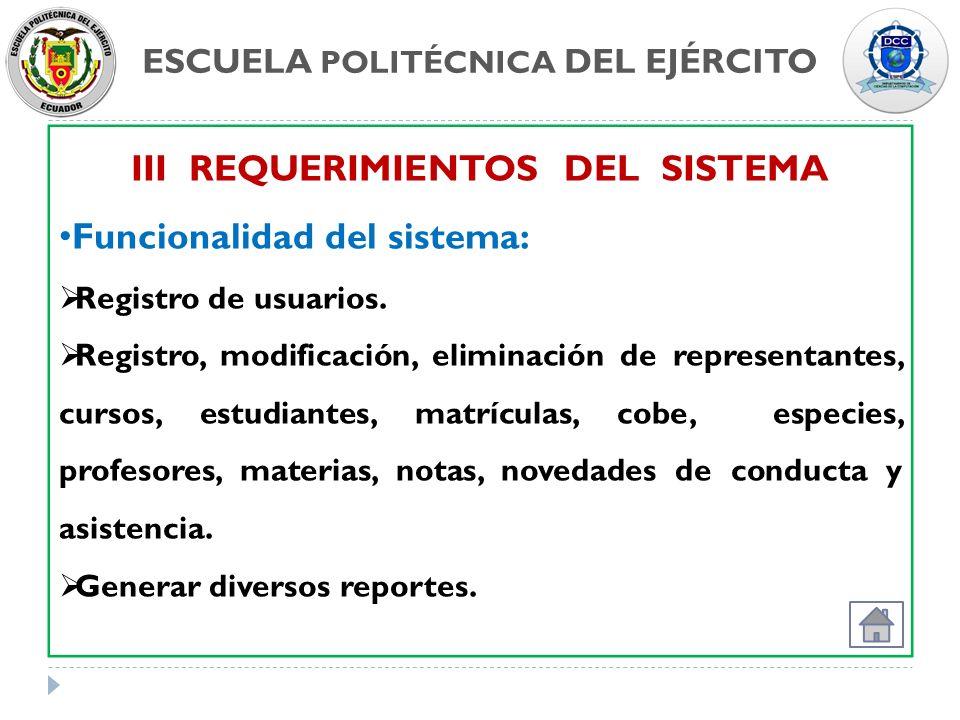 ESCUELA POLITÉCNICA DEL EJÉRCITO III REQUERIMIENTOS DEL SISTEMA
