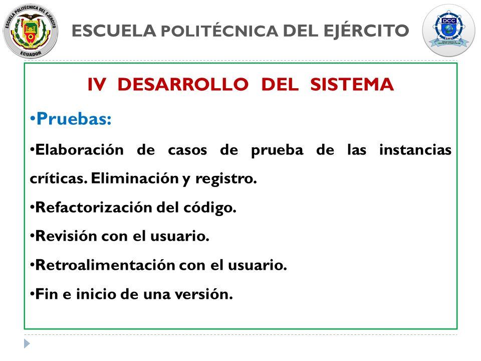 ESCUELA POLITÉCNICA DEL EJÉRCITO IV DESARROLLO DEL SISTEMA