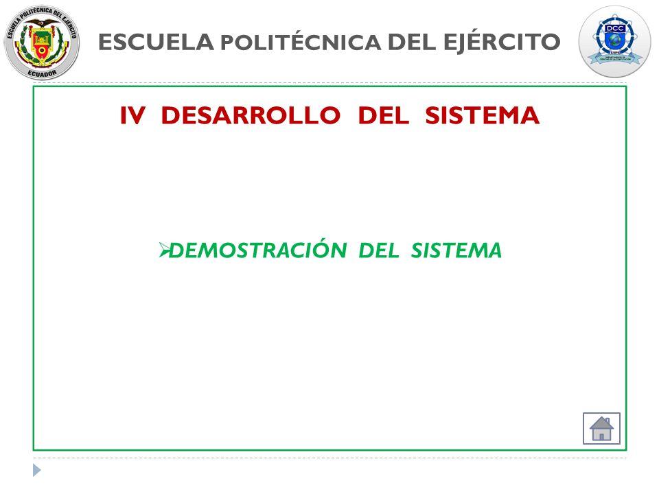 IV DESARROLLO DEL SISTEMA