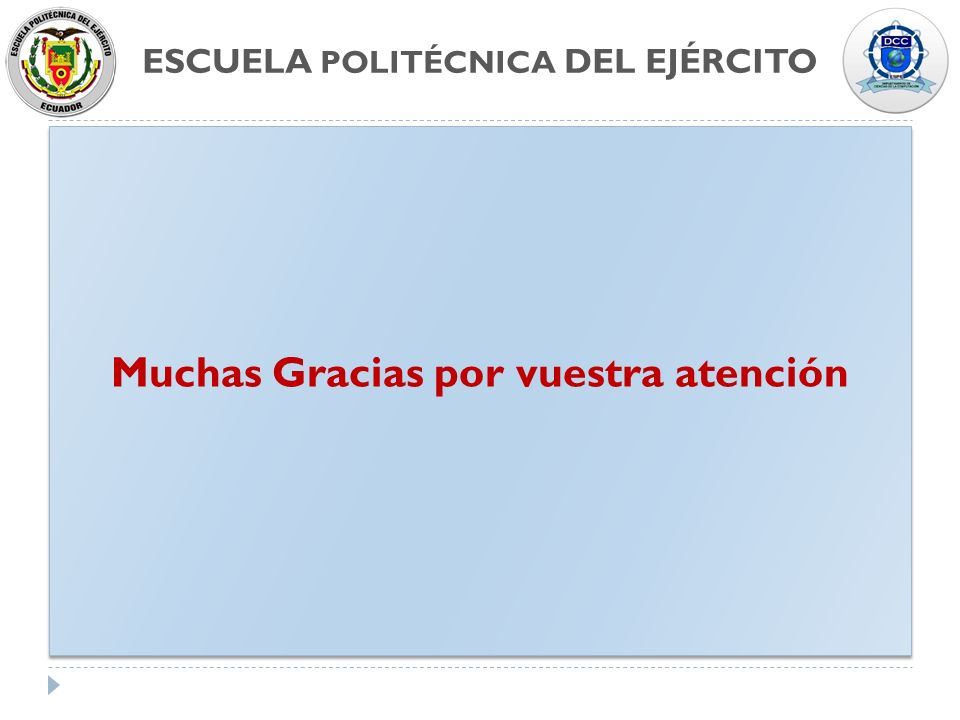 ESCUELA POLITÉCNICA DEL EJÉRCITO Muchas Gracias por vuestra atención