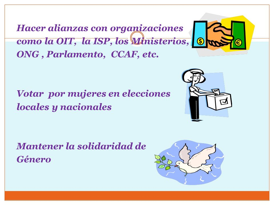 Hacer alianzas con organizaciones como la OIT, la ISP, los Ministerios, ONG , Parlamento, CCAF, etc.