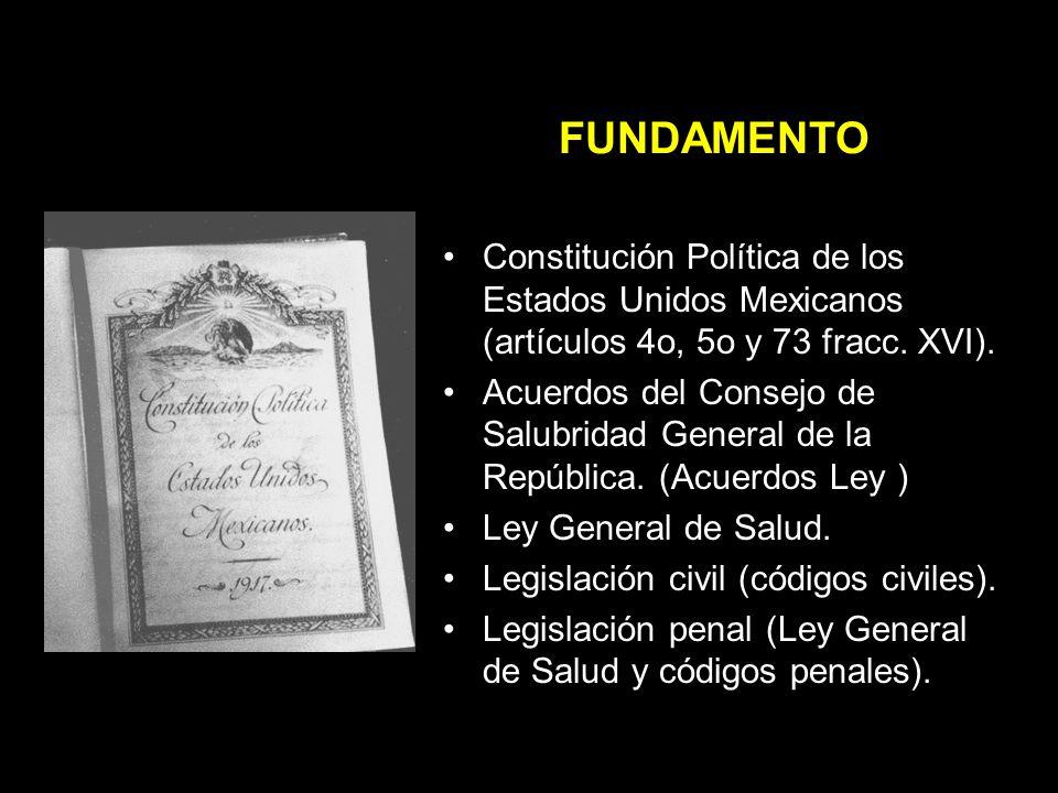 FUNDAMENTO Constitución Política de los Estados Unidos Mexicanos (artículos 4o, 5o y 73 fracc. XVI).