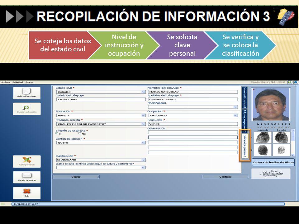 Se coteja los datos del estado civil Nivel de instrucción y ocupación