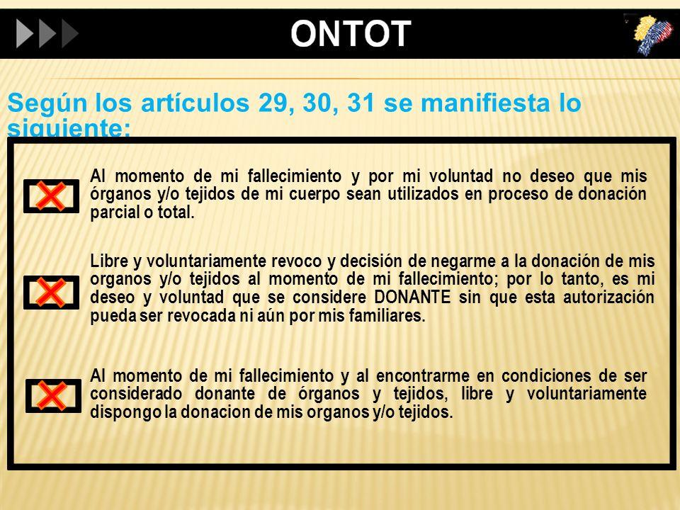 Según los artículos 29, 30, 31 se manifiesta lo siguiente:
