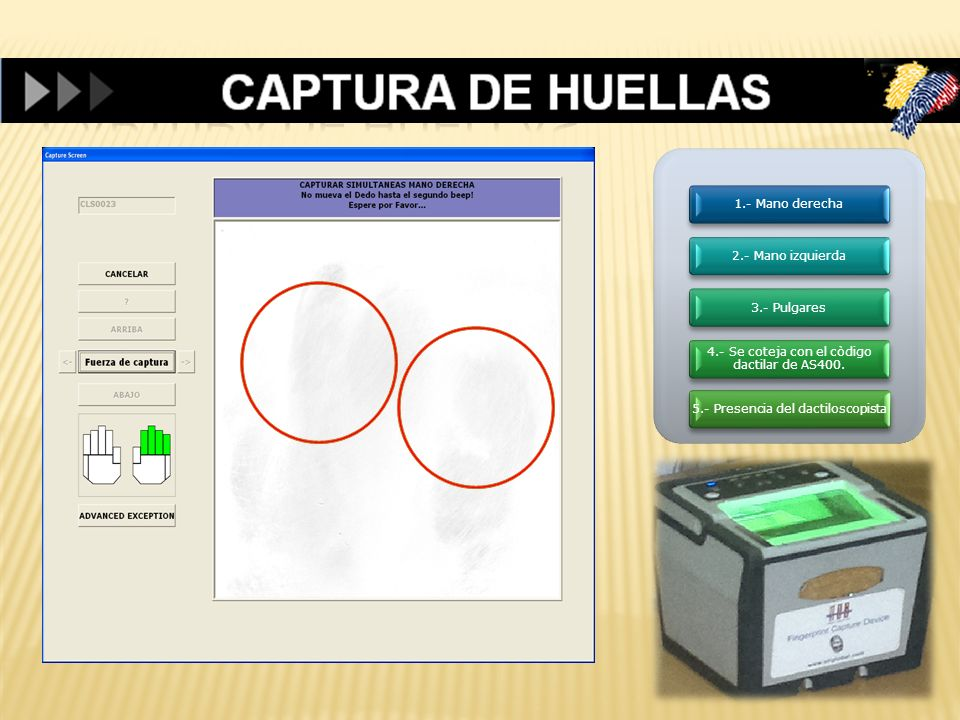 CAPTURA DE HUELLAS 1.- Mano derecha 2.- Mano izquierda 3.- Pulgares
