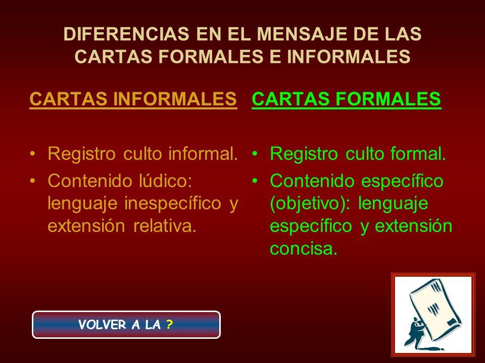 DIFERENCIAS EN EL MENSAJE DE LAS CARTAS FORMALES E INFORMALES