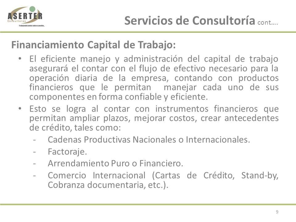 Servicios de Consultoría cont….