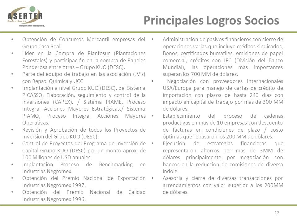 Perfiles Socios SOCIO - DIRECTOR DIRECTOR ASOCIADO Escolaridad: