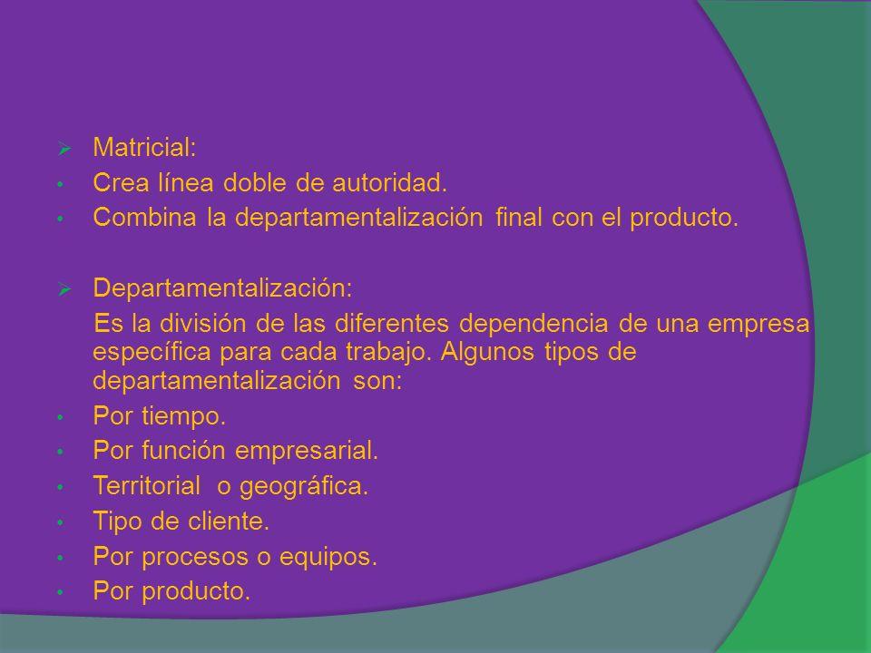 Matricial: Crea línea doble de autoridad. Combina la departamentalización final con el producto. Departamentalización: