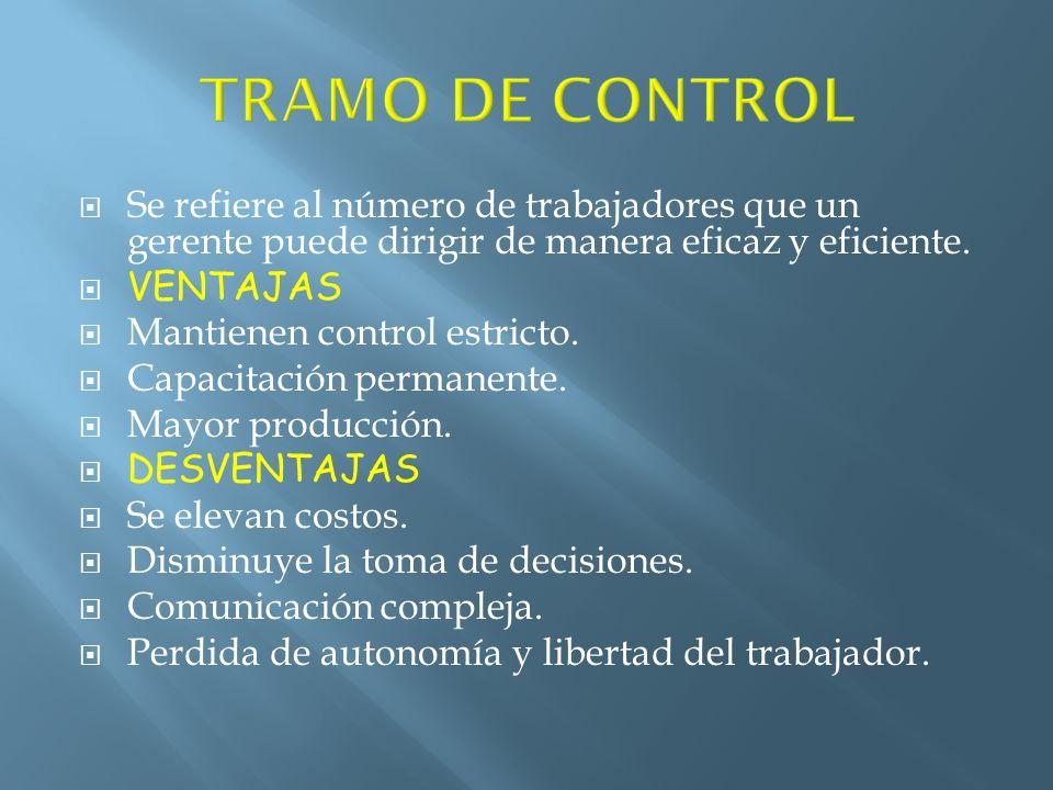 TRAMO DE CONTROL Se refiere al número de trabajadores que un gerente puede dirigir de manera eficaz y eficiente.