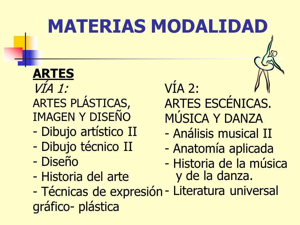 MATERIAS MODALIDAD ARTES VÍA 1: VÍA 2: ARTES ESCÉNICAS. MÚSICA Y DANZA