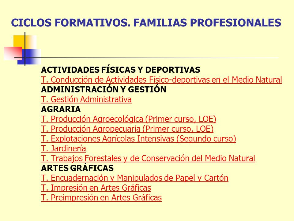 CICLOS FORMATIVOS. FAMILIAS PROFESIONALES