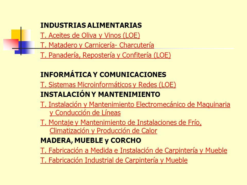 INDUSTRIAS ALIMENTARIAS T. Aceites de Oliva y Vinos (LOE) T