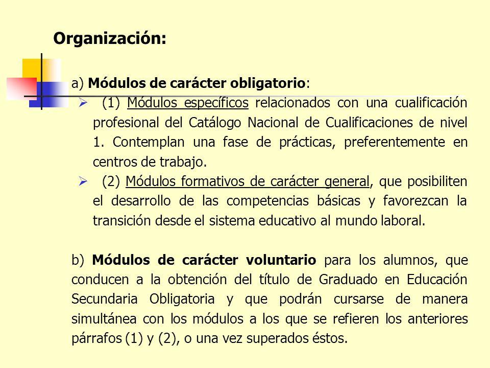 Organización: a) Módulos de carácter obligatorio: