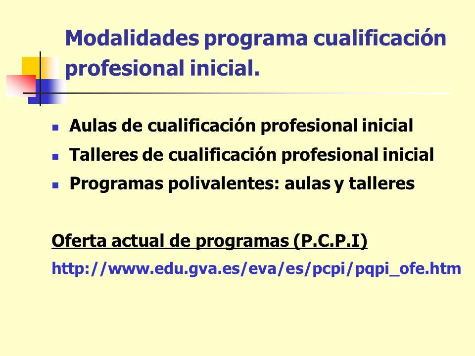 Modalidades programa cualificación profesional inicial.