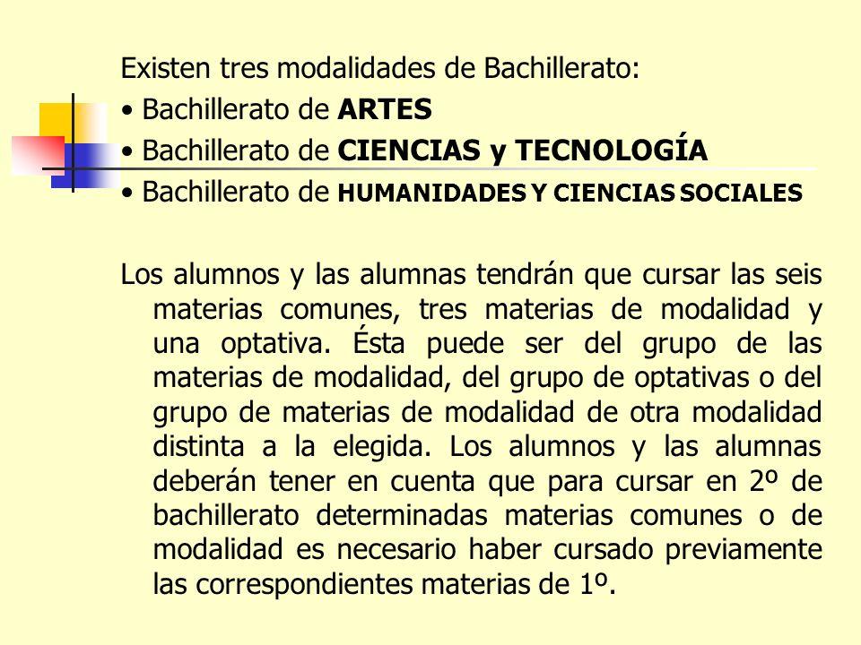 Existen tres modalidades de Bachillerato: