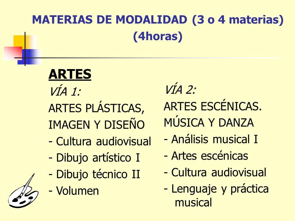 MATERIAS DE MODALIDAD (3 o 4 materias) (4horas)