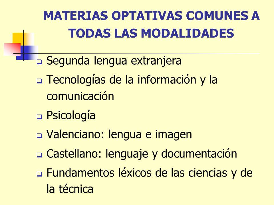 MATERIAS OPTATIVAS COMUNES A TODAS LAS MODALIDADES