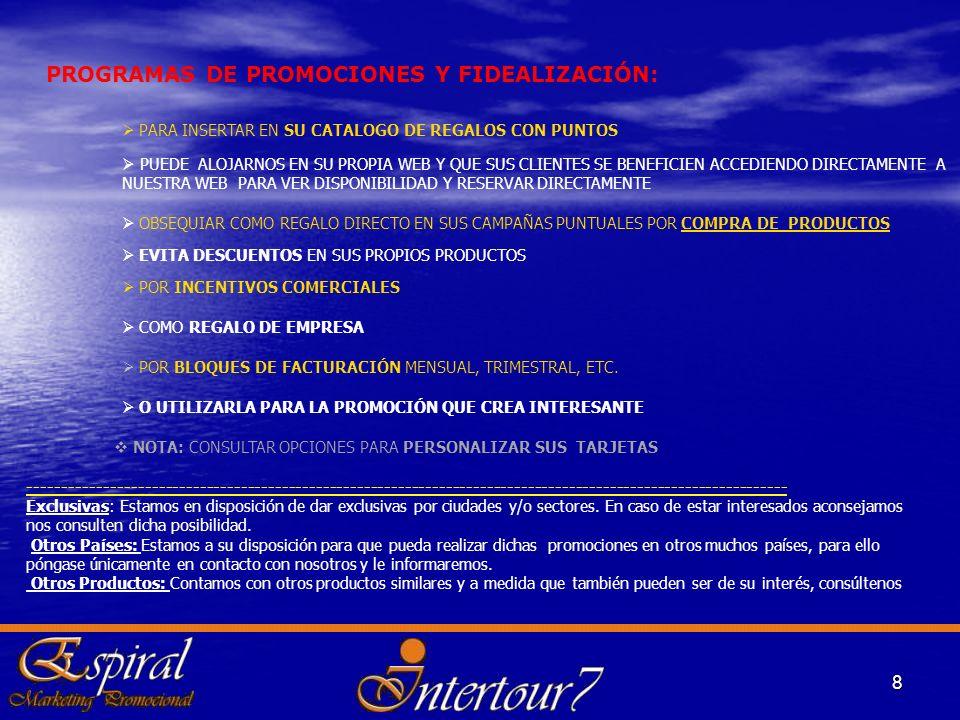 PROGRAMAS DE PROMOCIONES Y FIDEALIZACIÓN: