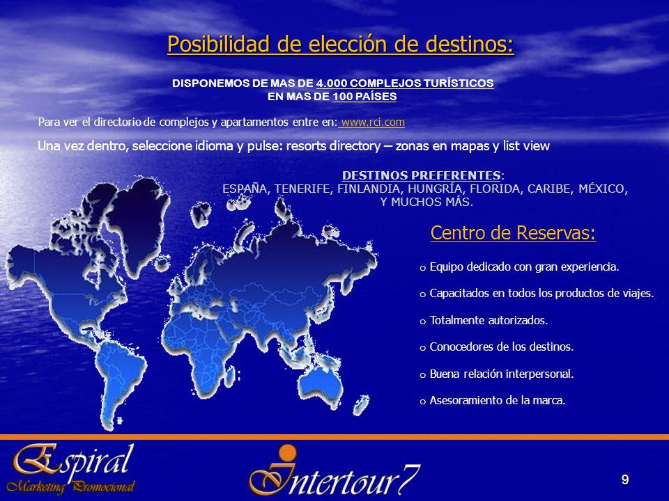 Posibilidad de elección de destinos: