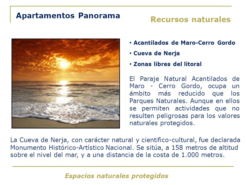 Apartamentos Panorama Recursos naturales