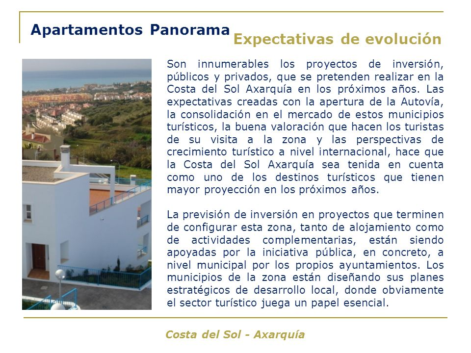 Apartamentos Panorama Expectativas de evolución