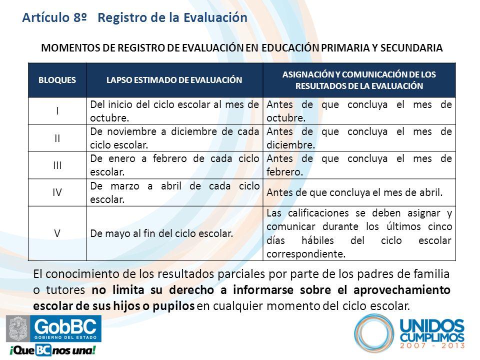 Artículo 8º Registro de la Evaluación
