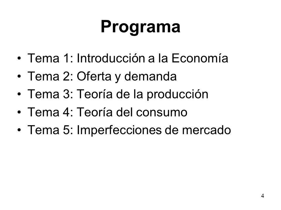 Programa Tema 1: Introducción a la Economía Tema 2: Oferta y demanda