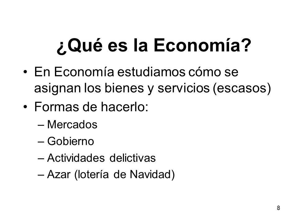 ¿Qué es la Economía En Economía estudiamos cómo se asignan los bienes y servicios (escasos) Formas de hacerlo: