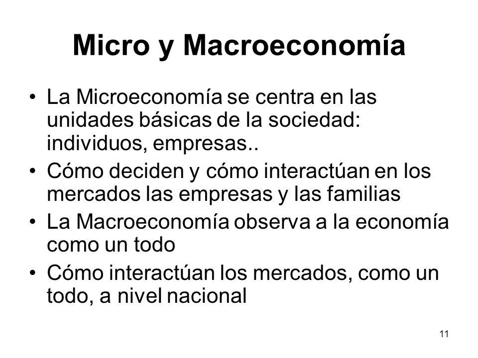 Micro y Macroeconomía La Microeconomía se centra en las unidades básicas de la sociedad: individuos, empresas..